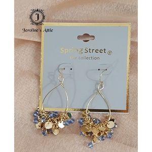 Spring Street Blue Glass Beaded Hoop Earrings